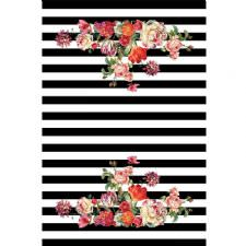 Yatay Çizgili Çiçek Tasarımlı Dijital Baskılı Halı