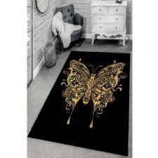 Altın Yaldızlı Kelebek Desenli Dijital Baskılı Halı