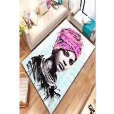 Grafiti Detaylı Portre Çizim Dijital Baskılı Halı