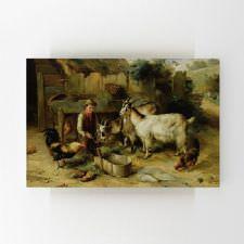 Ahırda Çoban ve Çiftlik Hayvanları Tablosu