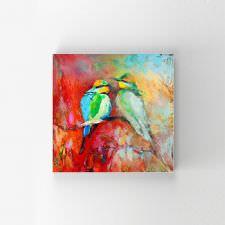 Rengarenk Kuşlar Yağlı Boya Tablosu