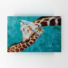 Anne ve Yavru Zürafa Yağlı Boya Tablosu