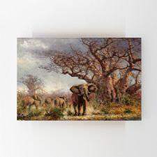 Ormanda Gezen Fil Sürüsü Yağlı Boya Tablosu