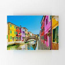 Venedik Burano Evleri Tablosu