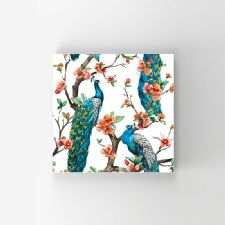 Çiçekli Tavus Kuşu Yağlı Boya Tablosu