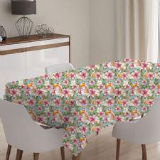 Çiçekli ve Kuşlu Model Masa Örtüsü