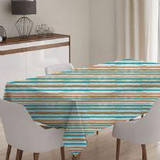 Turuncu, Mavi ve Beyaz Şerit Model Masa Örtüsü