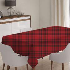 Kırmızı Ekose Model Masa Örtüsü