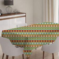 Rengarenk Geometrik Desen Masa Örtüsü