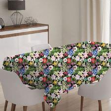 Rengarenk Çiçekli ve Yapraklı Model Masa Örtüsü