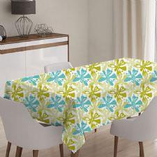 Yeşil Çiçekli Model Masa Örtüsü
