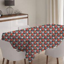 Kırmızı Çiçekli Model Masa Örtüsü