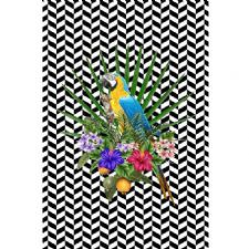 Papağan Ve Geometrik Zemin Dijital Baskılı Halı