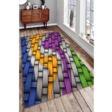 Geometrik Birleşme Ve Modern Renkler Dijital Baskılı Halı