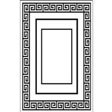 Geometrik Beyaz Zemin Dikdörtgen Desenli Dijital Baskılı Halı