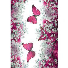 Kelebek ve Çiçek Desenli Dijital Baskılı Halı