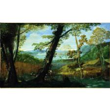 Annibale Carracci - River Landscape Tablosu