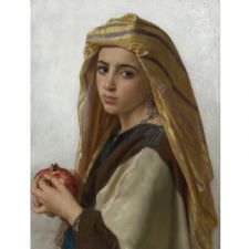 William Adolphe Bouguereau - Girl With Pomegranate Tablosu