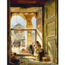Gustav Bauernfeind - Büyük Emevi Camii Kapısı Tablosu