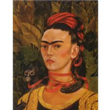 Frida Kahlo - Self Portrait with Monkey Tablosu