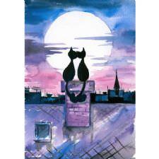 Ay Işığında Aşk Kedileri Tablosu