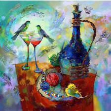 Şarap ve Aşk Sofrası Tablosu
