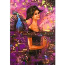 Sanatsal Kadın ve Tavus Kuşu Tablosu