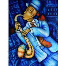 Mavi Temalı Jazz Sanatçısı Tablosu