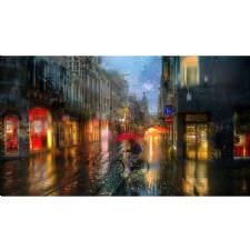 Renkli Yağmurlu Sokak Tablosu