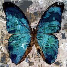 Eskitme Mavi Kelebek Tablosu