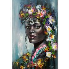 Afrikalı Çiçekli Kadın Tablosu
