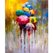 Yağmurda Şemsiye ile Yürüyenler Tablosu