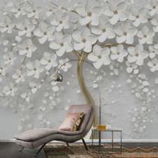 Altın Ağaçı Beyaz Çiçekler Duvar Kağıdı