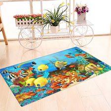 Renkli Balıklar Banyo Halısı