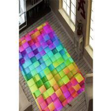 Renkli Kareler Dijital Baskılı Halı