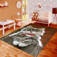 Kedi Desenli Dijital Baskılı Halı