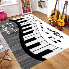 Nota Desenli Piyano Tuşu Desenli Dijital Baskılı Halı
