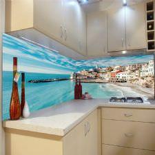 Cennet Evleri Sahili Manzaralı Tezgah Arası Cam Panel
