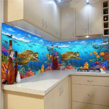 Deniz Canlıları Akvaryum Temalı Tezgah Arası Cam Panel