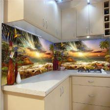 Doğal Deniz Manzaralı Tezgah Arası Cam Panel