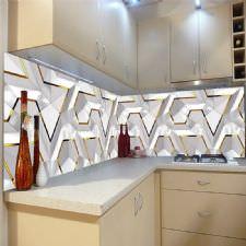 Geomaetrik Altın Çizgiler Tezgah Arası Cam Panel