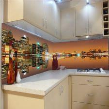 New York Manzaralı Tezgah Arası Cam Panel