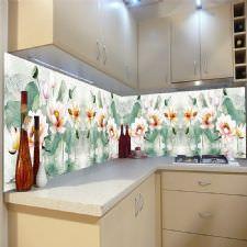 Narin Çiçekler Temalı Tezgah Arası Cam Panel