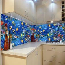 Akvarumda Balıklar Temalı Tezgah Arası Cam Panel