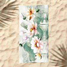Doğal Çiçekler Dijital Baskılı Plaj Havlusu