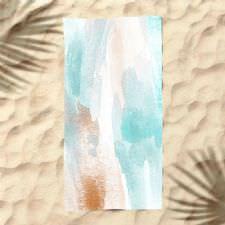 Su Yeşili Sulu Boya Dijital Baskılı Plaj Havlusu