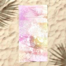 Pembe Sulu Boya Dijital Baskılı Plaj Havlusu