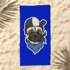 Şapkalı Köpek Dijital Baskılı Plaj Havlusu
