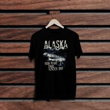 Bush Plane Alaska Siyah Renkli Baskılı T-Shirt