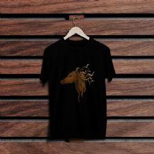 At Rüzgarı Siyah Renkli Baskılı T-Shirt
